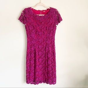 Elie Tahari Fuchsia Floral Lace Cap Sleeve Dress 4